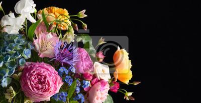 Naklejka Beautiful bunch of colorful flowers on black background