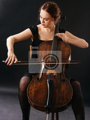 Naklejka Beautiful cellist