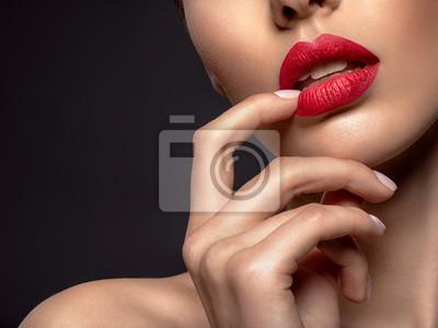 Naklejka Beautiful  fashion woman with red lipstick. Pretty model.