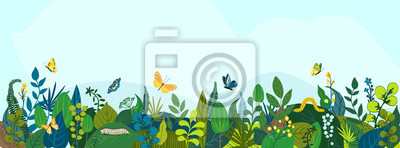 Naklejka Beautiful floral background, panorama. Leaves, colorful flowers, caterpillars, butterflies. Bright spring and summer banner for cover social network, invitation, wedding, holiday. Vector illustration.