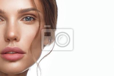 Naklejka Beautiful fresh girl with perfect skin, natural make-up. Beauty face.