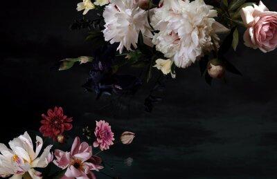 Naklejka Beautiful garden flowers. Vintage floral card.