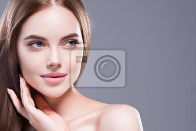 Naklejka Beautiful hair woman long brunette hairsstyle healthy skin