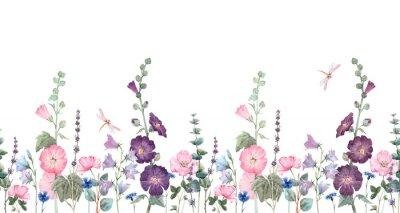 Naklejka Beautiful horizontal seamless floral pattern with watercolor summer mallow flowers. Stock illustration.