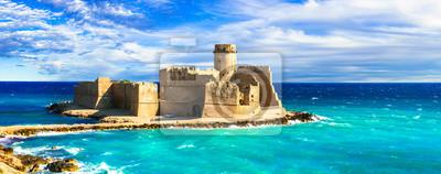 Naklejka beautiful medieval castles of Italy  - Le Castella.  Isola di Capo Rizzuto in Calabria