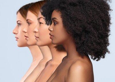 Naklejka Beautiful multiracial women with perfect skin