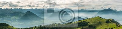 Naklejka Beautiful panoramic view on Swiss Alps around Lake Lucerne as seen from top of Rigi Kulm peak