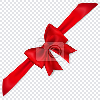 Naklejka Beautiful red bow with diagonally ribbon with shadow on transparent background