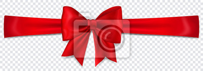 Naklejka Beautiful red bow with horizontal ribbon with shadow on transparent background