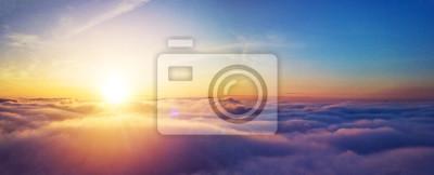 Naklejka Beautiful sunrise cloudy sky from aerial view