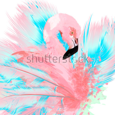 Naklejka Beautiful vector illustration with drawn pink flamingo and blue feathers