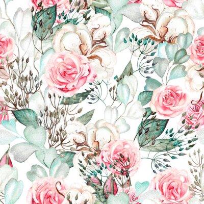 Naklejka Beautiful watercolor wedding pattern with eucalyptus  and rose.