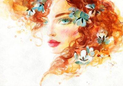Naklejka beautiful woman. fashion illustration. watercolor painting