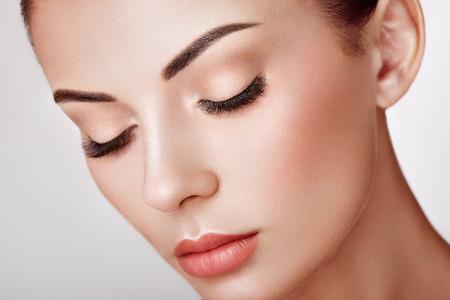 Naklejka Beautiful Woman with Extreme Long False Eyelashes. Eyelash Extensions. Makeup, Cosmetics. Beauty, Skincare