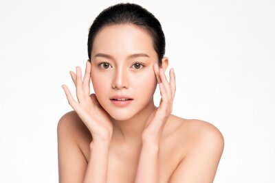 Naklejka Beautiful young asian woman with clean fresh skin on white background, Face care, Facial treatment, Cosmetology, beauty and spa, Asian women portrait