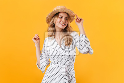 Naklejka Beautiful young blonde woman wearing summer dress