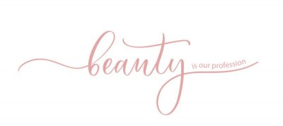 Naklejka Beauty is our profession - the slogan for a beauty salon, hand calligraphy.