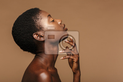 Naklejka Beauty portrait of young half-naked african woman with short black hair