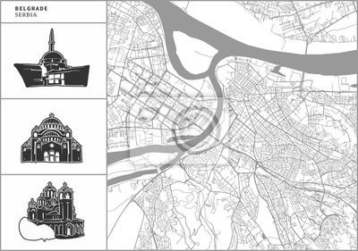 Naklejka Belgrad mapa miasta z ręcznie rysowane ikony architektury