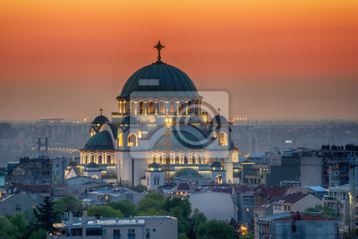 Naklejka Belgrad panorama ze świątynią Saint Sava