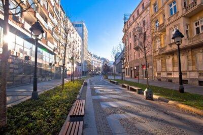 Naklejka Belgrade. Cobbled streets in historic Beograd city enter view