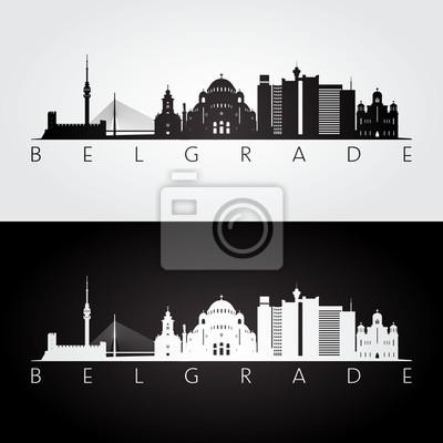 Naklejka Belgrade linia horyzontu i punkt zwrotny sylwetka, czarny i biały projekt, wektorowa ilustracja.