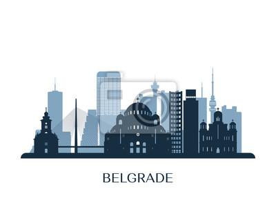 Naklejka Belgrade skyline, monochrome silhouette. Vector illustration.