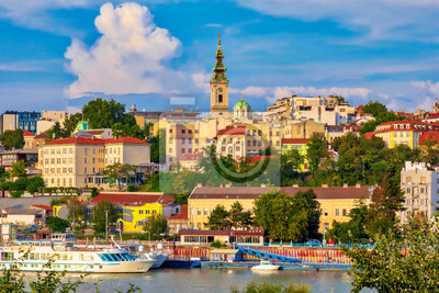 Naklejka Belgrade, the capital of Serbia. View of the old historic city center on Sava river banks. Image