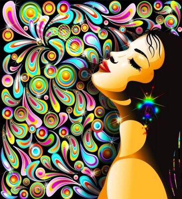 Naklejka Bella Ragazza Bacio-Girl 's Kiss-Kolorowe Pop Art Design