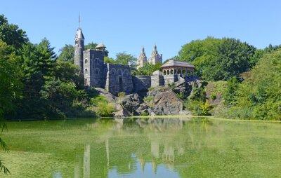 Naklejka Belvedere Castle jest atrakcją turystyczną w Nowym Jorku, ale także punktem orientacyjnym jest stacja meteorologiczna pogoda Central Park w National Weather Service