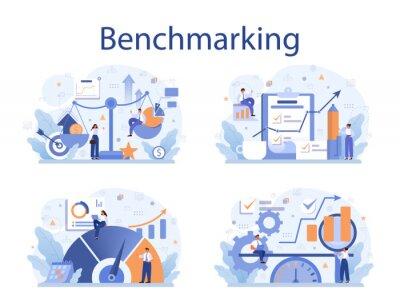 Naklejka Benchmarking concept set. Idea of business development and improvement.