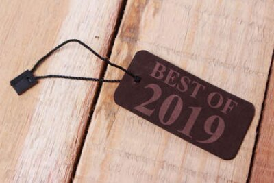 Naklejka Best of 2019, last year review in life, business, relation, and preparing for new year 2020 resolutions