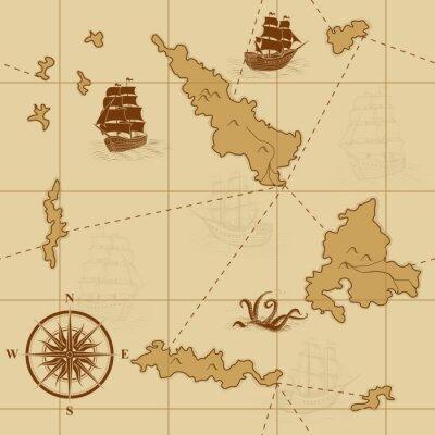 Naklejka bez szwu stare mapy z kompasem i statków