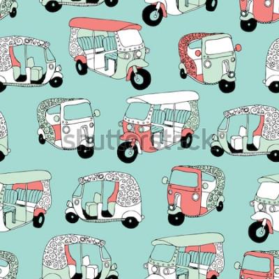 Naklejka Bezproblemowa azjatycki transport ikona ind królowa drogi riksza ilustracja tło wzór w wektorze