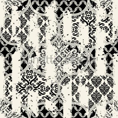 Naklejka Bezproblemowa rocznika wzór z efektem ścierania. Płytki mozaikowe.