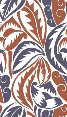 Naklejka Bezproblemowa Victorian Wallpaper - Liście