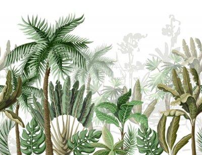 Naklejka Bezszwowa granica z tropikalnym drzewem, takim jak palma, banan. Wektor.