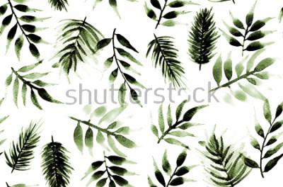 Naklejka Bezszwowa Niekończący się ręka obrazu akwarela Tropikalnych liści liści wzoru Odosobniony tło