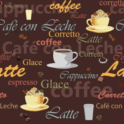 Naklejka bezszwowe motyw kawy