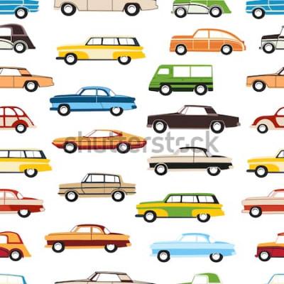Naklejka Bezszwowe tło dekoracyjne samochodów