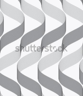 Naklejka Bezszwowe tło geometryczne. Nowoczesne monochromatyczne wstążki jak ornament. Wzór z teksturowanymi wstążkami. Wstążki tworzące fale o ciemnym i jasnym wzorze.