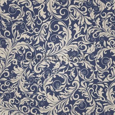 Naklejka Bezszwowe tło w kolorze beżowym i niebieskim w stylu Damaszku. Vintage ornament. Użyj do tapet, drukowania na papierze opakowaniowym, tekstyliach.