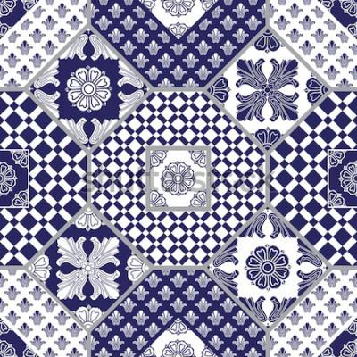 Naklejka Bezszwowe tło wektor z ciemnoniebieskie i białe ozdoby, wzory geometryczne, stylizowane kwiaty i liście