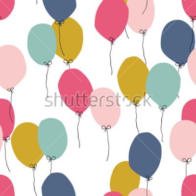 Naklejka Bezszwowe tło z balonów strony w różnych kolorach. Idealny do projektowania dla dzieci, tkanin, opakowań, tapet, tkanin, odzieży.