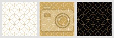 Naklejka Bezszwowy abstrakcjonistyczny nowożytny geometryczny okrąg linii wzór dla eleganckiego złotego bożego narodzenia tła