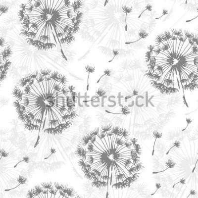 Naklejka Bezszwowy dandelion wzór, wektorowy bezszwowy tło z ręki rysować roślinami i ziarnami