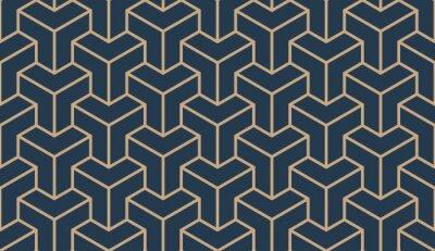 Naklejka Bezszwowy dębny błękitny i brown azjatykci trójgraniasty deseniowy wektor