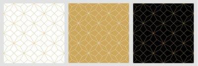 Naklejka Bezszwowy deseniowy abstrakta gwiazdy bożych narodzeń tło z eleganckimi złotymi wektorowymi liniami