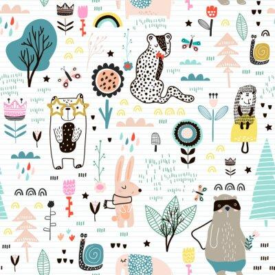 Naklejka Bezszwowy dziecinny wzór z czarodziejskimi kwiatami, niedźwiedziem, królikiem, lampartem, jeż. Kreatywnie dzieciaka miasta tekstura dla tkaniny, opakowania, tkanina, tapeta, odzież. Ilustracji wektoro