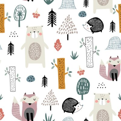 Naklejka Bezszwowy dziecinny wzór z ślicznym niedźwiedziem, lisem, jeżami w drewnie. Kreatywne dzieci w stylu skandynawskim tekstury na tkaniny, opakowania, tekstylia, tapety, odzież. Ilustracji wektorowych